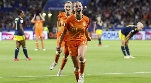 Netherlands' Jackie Groenen celebrates after scoring during the semi-final (AP Photo/Francisco Seco)