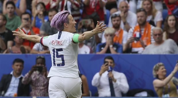 Megan Rapinoe was in disbelief after winning the World Cup final (David Vincent/AP)