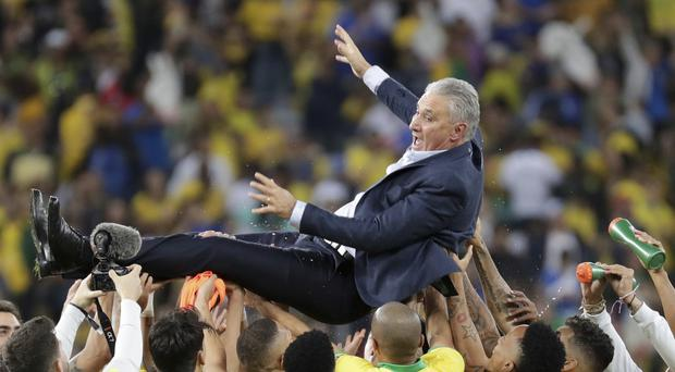 Brazil's coach Tite was speechless after winning the Copa America (Leo Correa/AP)