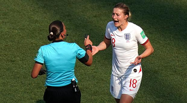 England's Ellen White appeals to Match referee Anastasia Pustovoytova after her goal is disallowed against the USA (John Walton/PA)