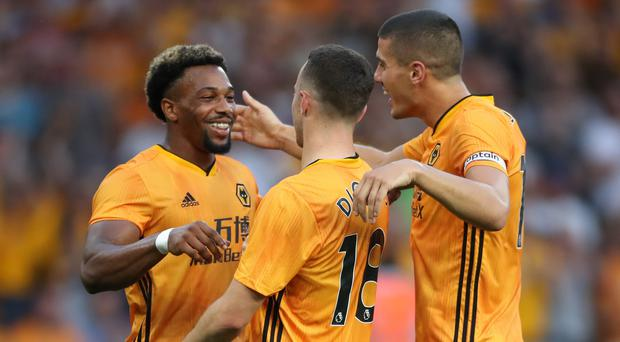 Diogo Jota (centre) celebrates Wolves' first European goal for 39 years (Nick Potts/PA)