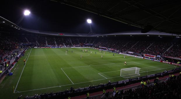 Part of the roof of the AZ Alkmaar stadium has collapsed