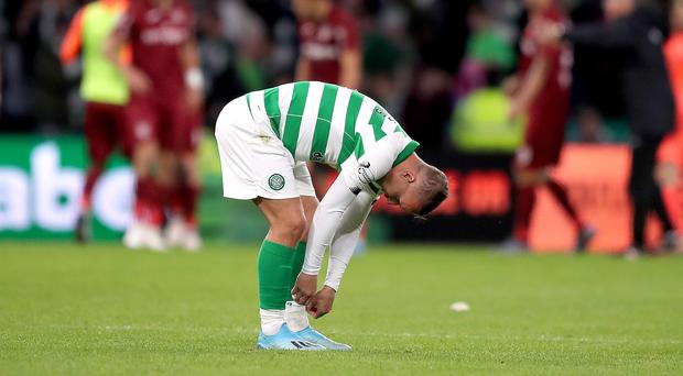 Leigh Griffiths appears dejected after the final whistle (Jane Barlow/PA)