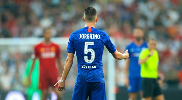 Chelsea's Jorginho had his name spelled incorrectly on his shirt for the Super Cup in Istanbul (PA)