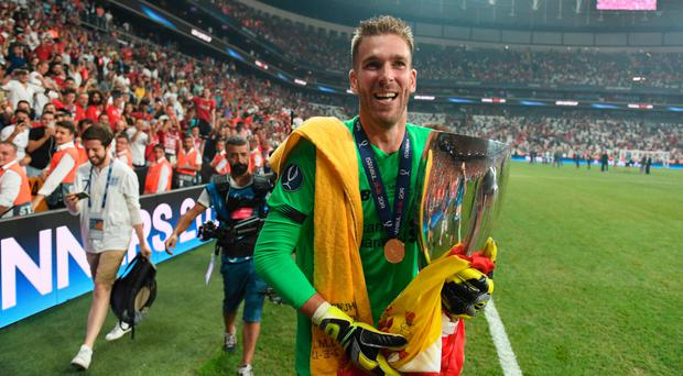 Penalty king: Adrian after his Super Cup heroics