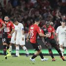 Rennes celebrated a hard-earned victory over Paris St Germain (David Vincent/AP)