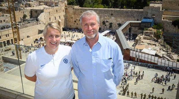 Emma Hayes (left) admitted Chelsea Women were handed a big boost by Roman Abramovich's (right) visit (Shahar Azran/CFC/PA )