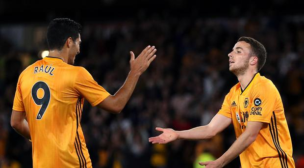 Raul Jimenez (left) and Diogo Jota (right) were both on target in Wolves' 3-2 Europa League play-off win away to Torino (Nigel French/PA)