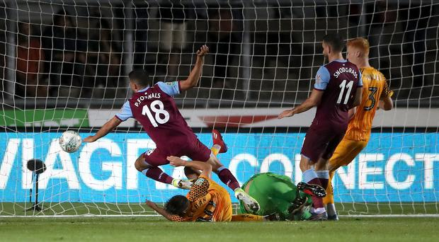 West Ham's Pablo Fornals scores his first goal for the club in the Carabao Cup victory at Newport (Nick Potts/PA)
