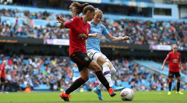 Manchester City beat rivals United in their FA Women's Super League opening game at the Etihad Stadium (Nigel French/PA)