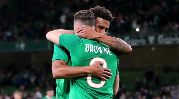 Republic of Ireland midfielder Alan Browne (right) celebrates scoring his side's first goal against Bulgaria (Niall Carson/PA)