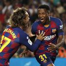 Barcelona's Ansu Fati, right, celebrates his early goal (Joan Monfort/AP)
