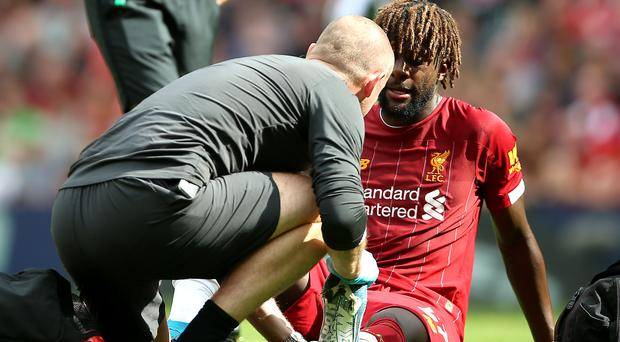 Divock Origi injured his ankle on Saturday afternoon (Nigel French/PA)