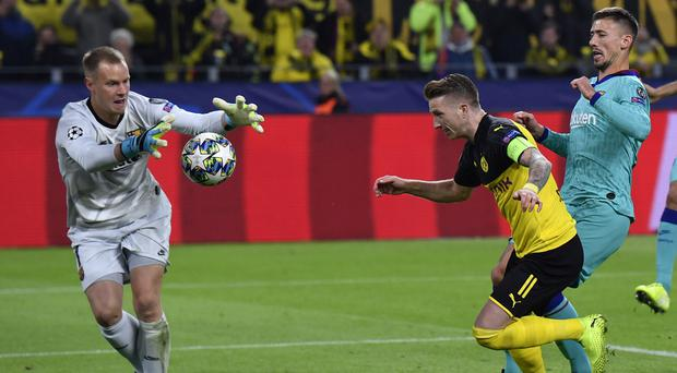 Marc-Andre Ter Stegen produced a remarkable double save following a penalty (Martin Meissner/AP)