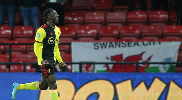Danny Welbeck celebrates his first Watford goal (Nigel French/PA)