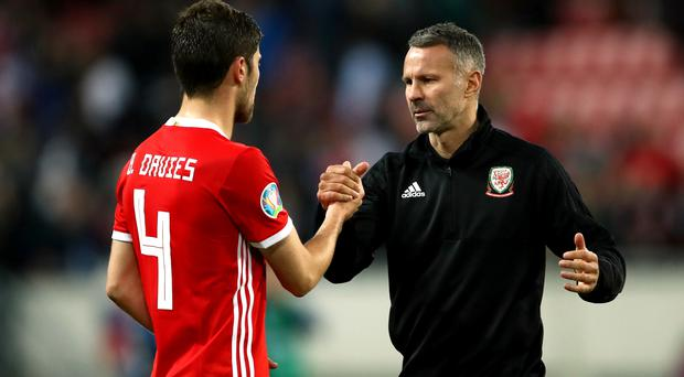 Wales manager Ryan Giggs, right, was pleased with his side's performance in their 1-1 Euro 2020 qualifying draw against Slovakia (Tim Goode/PA)