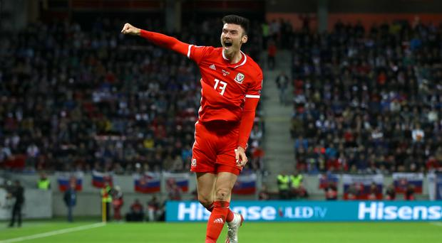 Kieffer Moore scored on his first competitive start for Wales in Slovakia (Tim Goode/PA)