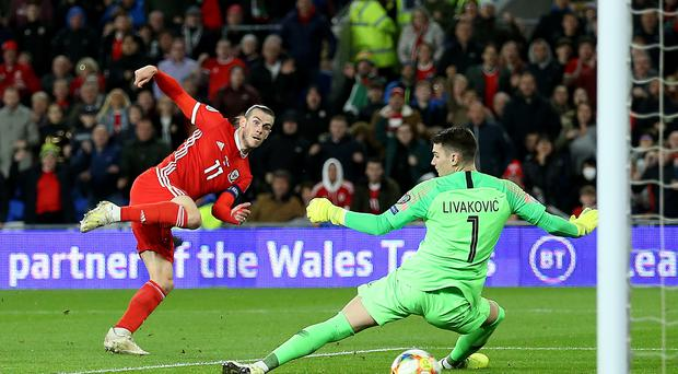 Wales captain Gareth Bale scores against Croatia in their Euro 2020 qualifying match in Cardiff (Nigel French/PA)