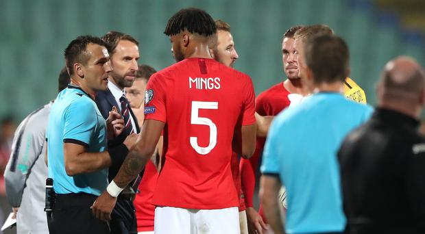 The referee halted the match in Sofia following racist abuse towards England players (Nick Potts/PA)