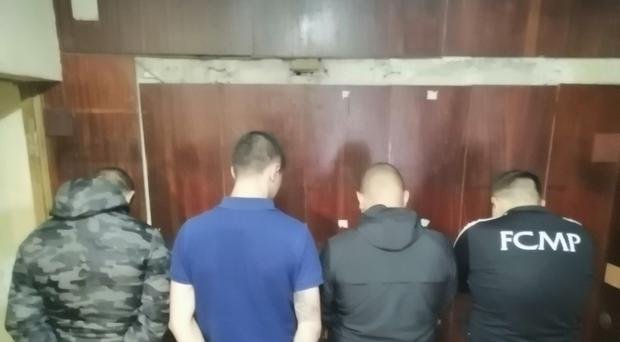 Four of the five men arrested by Bulgarian police on Friday morning in relation to racist behaviour during the England game on Monday night (MVR/Handout)