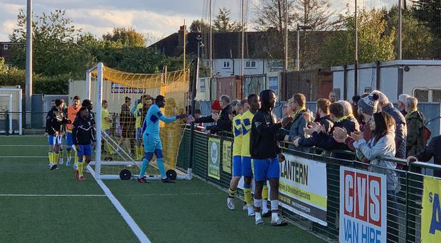 Fans interact with players at the FA Cup clash between Haringey and Yeovil (View from the Ninian handout)