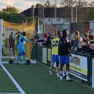 Fans interact with players at the FA Cup clash between Haringey and Yeovil (View from the Ninian handout).
