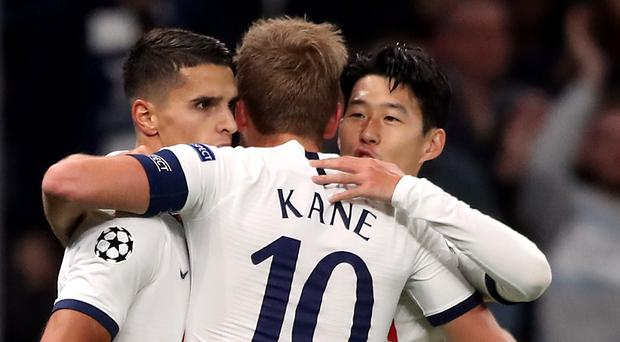 Son Heung-min, right, and Harry Kane both scored twice for Tottenham (Nick Potts/PA)