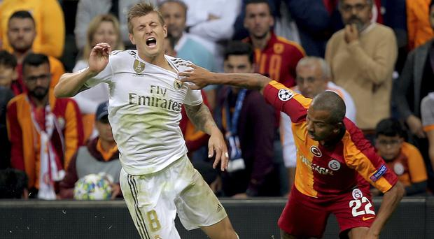 Toni Kroos, left, fired Real Madrid into a first-half lead (AP)