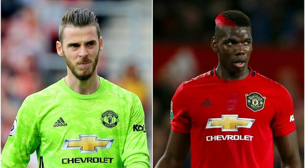 David De Gea and Paul Pogba both missed training (Mark Kerton/Richard Sellers/PA).