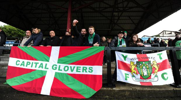 Yeovil's travelling fans numbered around 200 at Chorley's Victory Park ground (Zac Goodwin/PA)
