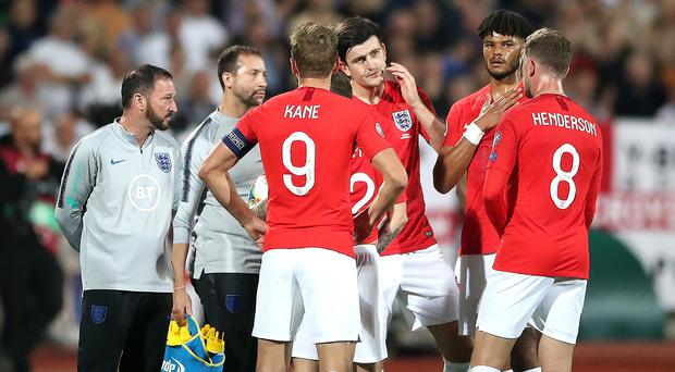 England players pictured during a temporary delay in the Euro 2020 qualifier against Bulgaria in Sofia (Nick Potts/PA)