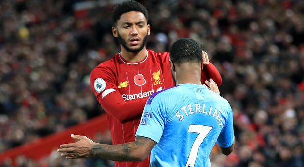 Liverpool's Joe Gomez (left) and Manchester City's Raheem Sterling clashed during Sunday's Premier League game (Peter Byrne/PA)