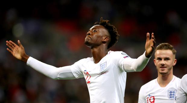 Tammy Abraham scored his first England goal in the 7-0 win over Montenegro (Nick Potts/PA)