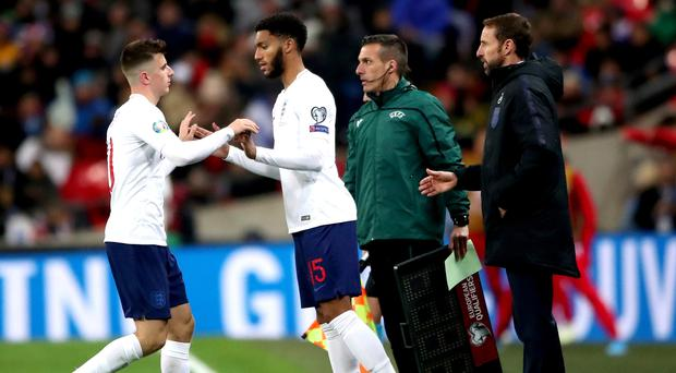 Joe Gomez, centre, has been embroiled in a media storm after his altercation with Raheem Sterling (Nick Potts/PA)