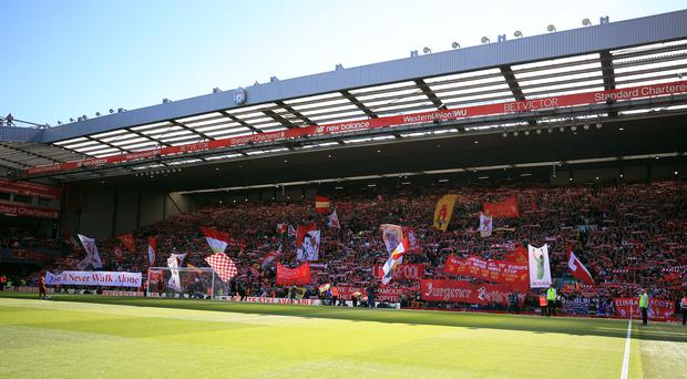 Anfield will host its first Women's Merseyside derby on Sunday (Peter Byrne/PA)