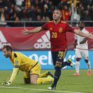 Santi Cazorla celebrates his goal against Malta (Miguel Morenatti/AP).