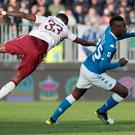 Brescia striker Mario Balotelli, right, looks set to miss out on Euro 2020 selection (Filippo Venezia/AP)