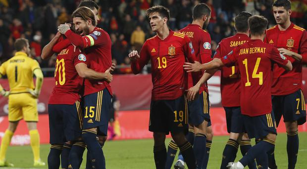 Spain's players celebrated a comfortable 7-0 Euro 2020 qualifying win over Malta on Friday (Miguel Morenatti/AP)