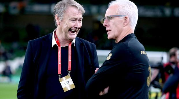 Denmark manager Age Hareide (left) has tipped Mick McCarthy's Ireland to join them at the Euro 2020 finals (Niall Carson/PA)