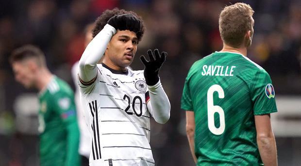 Serge Gnabry's hat-trick condemned Northern Ireland to a heavy defeat in Frankfurt (John Walton/PA)