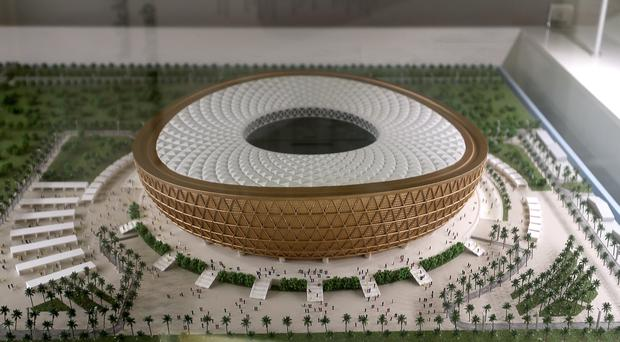 A model of the Lusail Stadium in Qatar, set to host the opening match and final of the 2022 World Cup (Martin Rickett/PA)