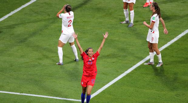 Christen Press (centre) scored for the United States against England at the Women's World Cup (Richard Sellers/PA)