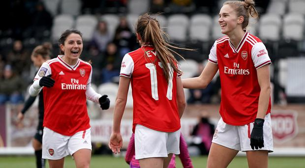 Arsenal's Vivianne Miedema, right, scored six times against Bristol City (Tess Derry/PA)