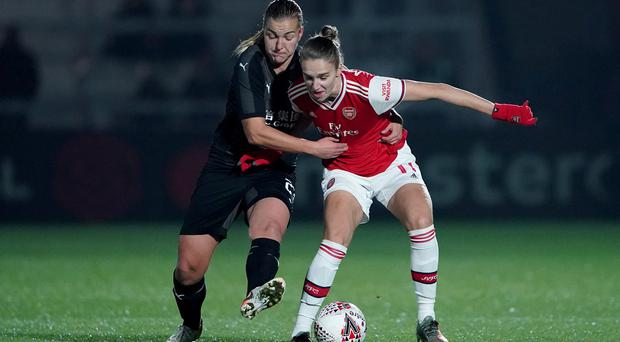 Arsenal's Vivianne Miedema (right) in action against Slavia Prague in the Women's Champions League in October (Tess Derry/PA)