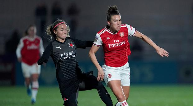 Arsenal's Katrine Veje in Champions League action against Slavia Prague earlier this season (Tess Derry/PA)