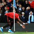 Fred was struck by missiles as he took a corner during Saturday's Manchester derby (Mike Egerton/PA)