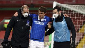 Solly March's injury means Brighton have a problem at left-wing back (Phil Noble/PA)