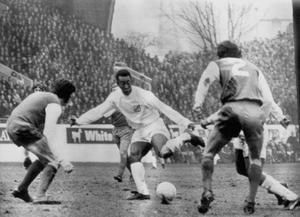Pele (centre) during a club friendly game in which Brazilian club Santos beat Sheffield Wednesday 2-0 at Hillsborough (PA)