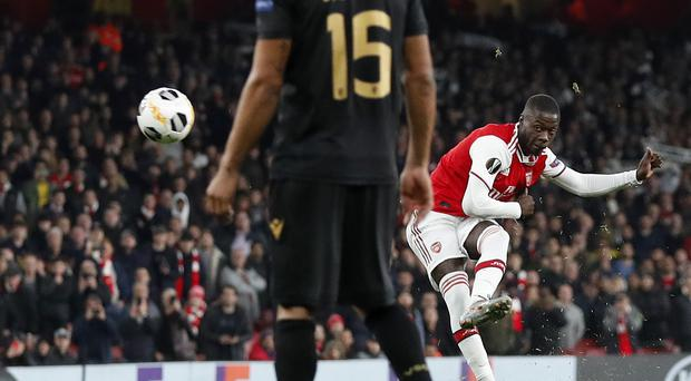 Nicolas Pepe spared Arsenal's blushes (Alastair Grant/AP)