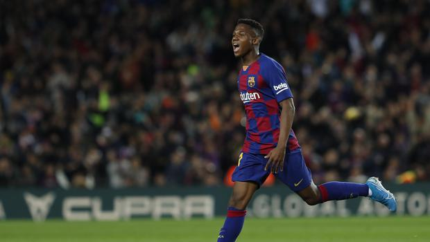 Barcelona's Ansu Fati celebrates after scoring his side's opening goal during a Spanish La Liga soccer match between Barcelona and Levante Photo/Joan Monfort)